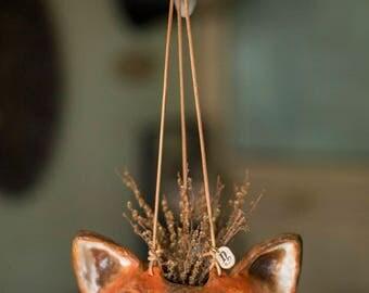 paper mache, fox, hanging vase, animal