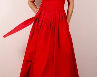 red long dress with short sleeves