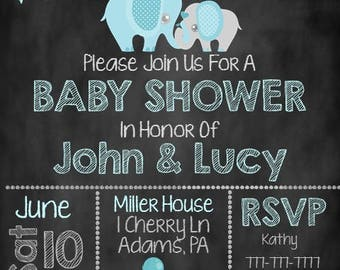 Blue Elephant Baby Shower Invite, Baby Shower Invite