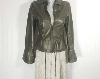 Women's Leather Jacket - Vintage green  Leather Jacket Size S.