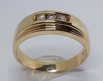 Men Wedding Band, Mens Wedding Band, Men Diamond Ring, Men Yellow Gold, Diamond Ring, Anniversary Ring for Him, Diamond Rings, Mens Gold