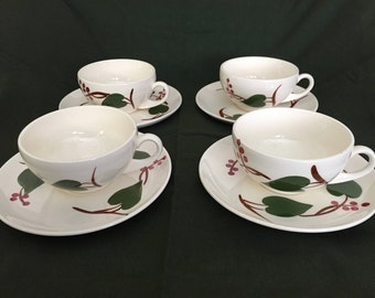 Blue Ridge Pottery Ivy Cups and Saucers (4 sets)
