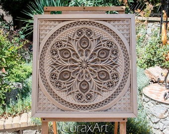 "Wood Wall Art "" Gothic Rose "",Wood Mandala,Luxury Wedding Gift,Decor,Wall Decor,Multi layer Sculpture,Engraving Wood,Laser Artwork,Laser cut"