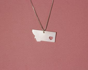 Montana necklace Montana state necklace sterling silver Montana pendant necklace heart Montana necklace USA necklace