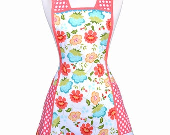 Vintage Women's Apron with Large Pockets, Floral in Aqua and Azalea Pink Dots Cute Kitchen Cooking Apron makes a Great Gift for the Chef
