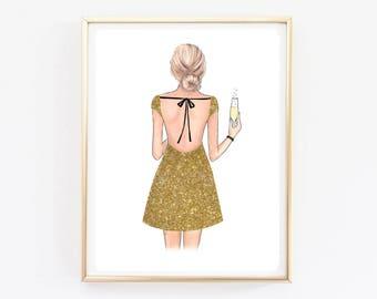 Gold fashion illustration Fashion art print Girly wall art Gold Glitter fashion art Vanity decor Fashion poster print Girls room decor