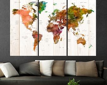 push pin world map wall art canvas print set of 3 panels travel map wall art framed  large abstract art s973