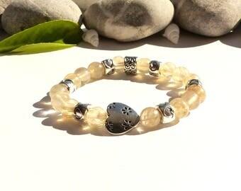 """Aliza"", rutilated quartz, rutilated quartz gem bracelet handmade bracelet, hearts, rutilated quartz bracelet rutilated quartz jewelry"
