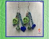 Peace Sign Earrings, Flower Earrings, Green Peace Sign, Hippie Earrings, Green Beaded Earrings, Gift ideas, Unique gift, Birthday gift