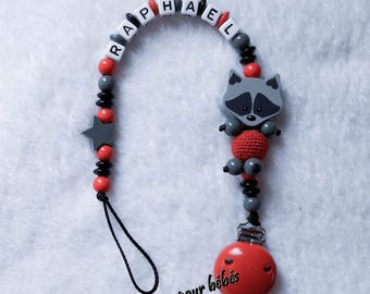 """Boy personalized 3D """"Raccoon raccoon"""" with wooden beads pacifier clip"""