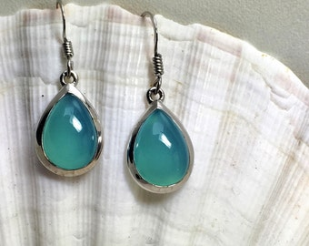 Tear shaped Sterling Silver Blue Chalcedony Ear-Pendants