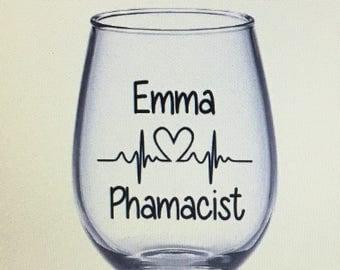 Pharmacist wine glass. Pharmacist gift. Pharmacy tech gift. Pharmacy tech wine glass. Pharm tech gift. Pharm tech wine glass.