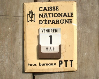 French Publicity P.T.T. Perpetual Calendar,  1970s