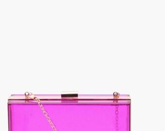 Pink Tone Clear Clutch Bag - Clear Plasticine Clutch Bag