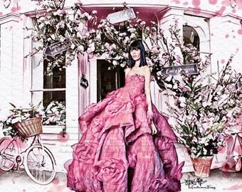 Floral Blooming Fashion Print (Marchesa Fashion Illustration)