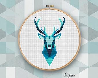 Geometric Wild Deer Cross Stitch pattern Deer Pattern Mountain Forest Woodland Animals  Modern Cross Stitch Deer Silhouette Cross Stitch