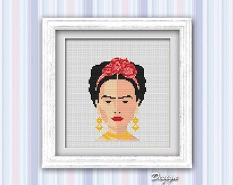 Frida Cross Stitch Pattern Modern Embroidery Frida Cross Stitch Counted Cross Stitch Feminist Modern Art Mexican Download PDF