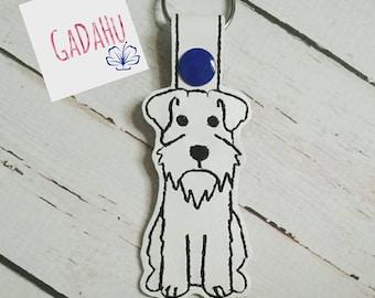 Schnauzer Dog Fob Snap Tab Embroidery Design 4X4 size