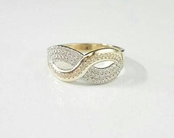 Vintage Infinity Design Ring with Swarovski Stones, Infinity Ring, Vintage Ring, Unique Design, Handmade Rose Gold Ring, Engagement Ring