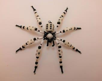 White and Black D6 Beaded spider