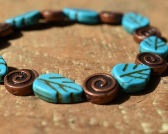 Turquoise Leaf and Bronze boho bracelet
