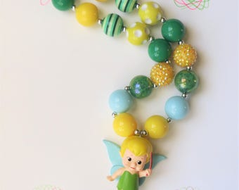 Tinkerbell  Chunky Bubblegum Necklace, Chunky Bead Necklace, Girls Jewelry, Little Girl Chunky Necklace, Bubblegum Necklace