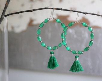 Allyson Tassel Earrings, Green Hoop Earrings