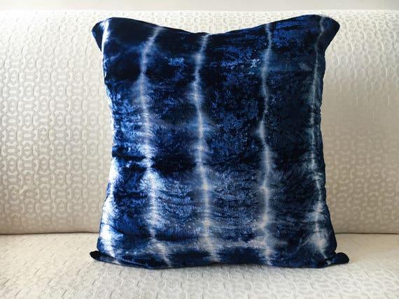 shibori stripes navy blue velvet euro sham 26x26 pillow cover. Black Bedroom Furniture Sets. Home Design Ideas