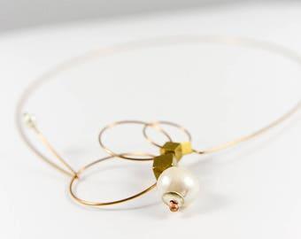 Geometric necklace, Circle necklace, Brass jewelry, Minimalist jewelry, Minimalist necklace, Bronze necklace, Metal necklace, Bronze jewelry
