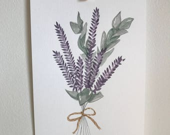 Original illustration, watercolor, lavender bouquet, made by hand, 8 x 10, 300g paper