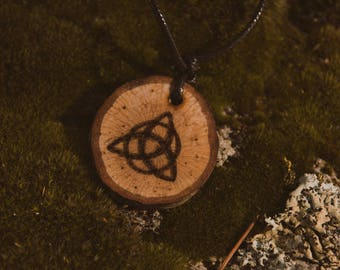 Triquetra wood burned pendant, celtic necklace, wooden pendant, celtic knot, pagan necklace.