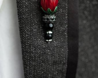 Brooch, Vintage Lapel pins - Grooms boutonniere -  tie pins - Flowers (Deep Red), gifts for him