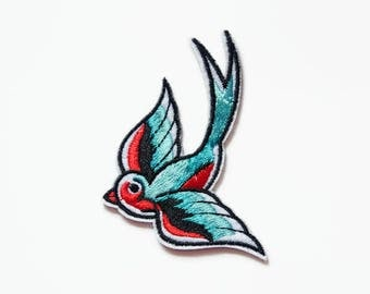 Embroidered Patch - Bird Patches - Gift for Her - Swallows Patch for Clothes - Rockabilly Clothing Birds Swallow Patch Vintage - Blue Patch