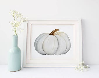 White Pumpkin, Watercolor Wall Art, Pumpkin Printable, Fall Decor