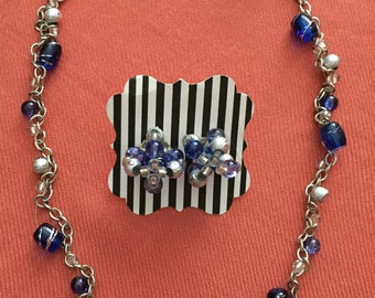 Blue and Silver Chain Necklace with Earrings
