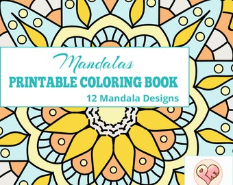 Mandala Coloring Book |  12 Printable Mandalas Coloring Pages Instant Download