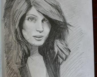 Drawing of girl, Actress, Pencil Portrait