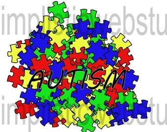 Autism Awareness Puzzle Piece Pile Clip Art