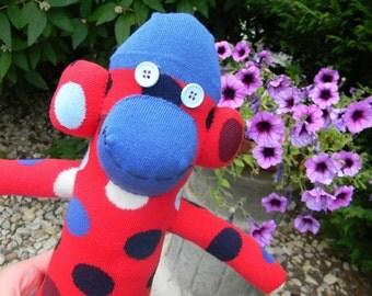 Red and Blue Sock Monkey - Handmade Stuffed Animal