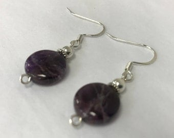Amethyst Circle Drop Earring
