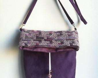 """sac bandoulière """"bohème violet"""" en tissu et alcantara"""