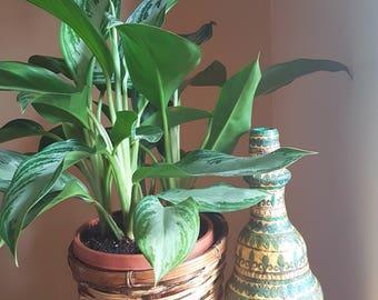 Original one of a kind boho pottery vase, vintage pottery, bohemian style vase, colorful vase