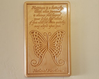Happiness is a Butterfly - Wooden Carved Inspirational Quote Wall Plaque