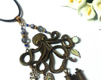 Necklace Man/Woman - Pendant Octopus with Diamond Pendants and Binoculars -Sea Life -Pendant Animal -Fashion Necklace - Valentine's Day Gift
