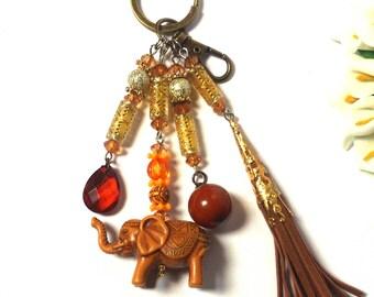 Keychain Elephant Gold / Brown Leather Tassel Ball Pendant - Fashion Keyring - Ethnic - Valentine Gift - Keyring - For Him / Her