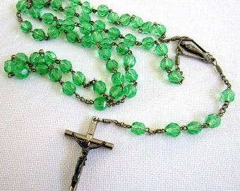 Vintage green crystal rosary, green rosary