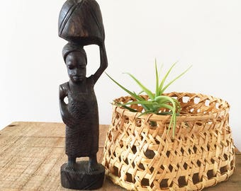 Vintage Wood African Woman Carving - hand carved sculpture - Bohemian Boho Eclectic Jungalow Decor Style Home - Africa wooden figure #0236