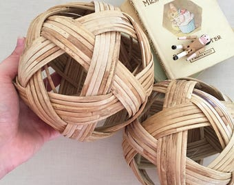 Pair Woven Cane Balls - Bohemian Boho Eclectic Jungalow Decor Style Home - baby child girl boy nursery room - wicker rattan #0778