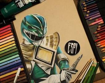 Green Power Ranger: - Illustrated Print