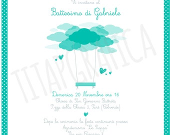 Printable Baptism invitation digital baby